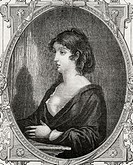 Aimee Cecile Renault, 1774-1794. French revolutionary accused of trying to murder Robespierre and condemned to death. Engraved by Pannemaker after Ram...