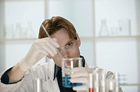 Scientist working in laboratory.
