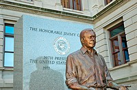 Jimmy Carter, President of US USA statue at GA Georgia State Capitol building in Atlanta