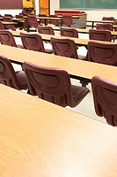 High angle view of tables and chairs in a lecture hall