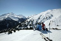 Desternation Austria / Resort St Anton Rendil ski area overview of the ski area