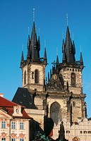 Church of Our Lady in front of Týn in Old Town Square, Prague. Czech Republic