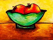 'Fruit in French Bowl' Acrylic on canvas. 2004. Private collection