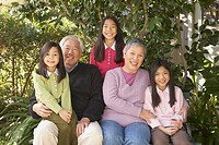 Asian grandparents and grandaughters outdoors, San Rafael, California, United States
