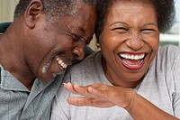 Close up of senior African American couple laughing