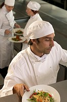 Young male chef checking orders, elevated view, close-up