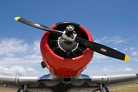 Front of North American AT-6A-NT Texan airplane at an air show.