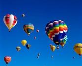 Colourful Hot Air Balloons in Sky, Albuquerque, New Mexico, USA