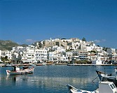 Town Skyline & Harbour, Naxos, Cyclades Islands, Greece