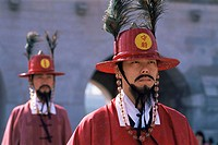 Korea, Seoul, Gyeongbokgung Palace, Portrait of Ceremonial Guard in Traditional Costume