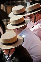 Bullfight spectators with typical hats. Real Maestranza de Sevilla. Andalucia. Spain