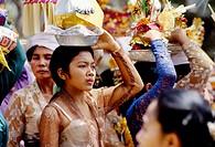 Religious procession. Near Ubud. Bali. Indonesia