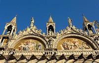 Façade detail of St. Mark´s basilica, Venice. Veneto, Italy