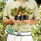 portrait of a young man in an apron holding potted plants