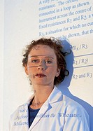 Portrait of a young female medical professional with text projected on her face