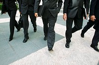 Business executives walking together