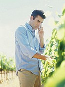 young man standing in a vineyard and talking on a mobile phone