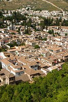View of the Albaicín typical quarter from the Alcazaba, Alhambra, Granada, Andalucía, Spain