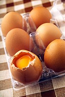 Eggs in plastic packing