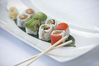 Sushi with avocado and salmon, elevated view