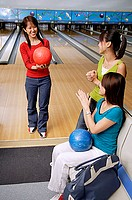 Women in bowling alley