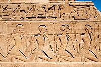 Relief at Abu Simbel archaeological site. Egypt