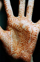 Close up of Henna Tattoo (Mehndi) on palm