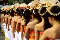 Indonesia, Bali, Gianyar, Cremation ceremony, procession of teenage girls. (grainy)