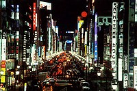 Japan, Ginza district at night