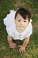 Baby girl crawling on grass, looking up, portrait