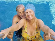 Close-up of senior couple in swimming pool