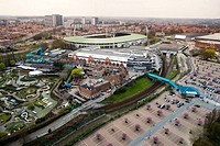 Heysel Stadium, station and Mini Europe seen from the Atomium, Brussels. Belgium