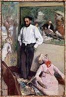 Ü Kunst, Degas, Edgar Hilaire Germain (1834 - 1917), Gemälde, ´Portrait of Henri Michel-Levy in his studio, 1879, Öl auf Leinwand, Sammlung Gulbenkian...