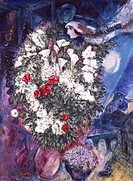 fine arts, Chagall, Marc, 1887 - 1985, painting, ´flower bouquet with floating couple´, 1934 - 1947, oil on canvas, 130,5 cm x 97,5 cm, Tate Gallery, ...