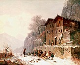 fine arts, Bürkel, Heinrich, 1802 - 1869, painting, ´Heimkehr von der Bärenjagd´, ´return from bear hunt´, 19th century, Nusser gallery, Munich, histo...
