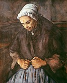 Ü Kunst, Cezanne, Paul, (19.1.1839 - 22.10.1906), Gemälde, ´Greisin mit Rosenkranz´, 80x64 cm, Öl auf Leinwand, National Gallery, London, alt, alte, F...