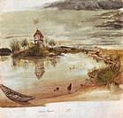 Ü Kunst - Dürer, Albrecht (1471 - 1528), Gemälde ´Weiherhaus´, Wasserfarbe auf Papier, Landschaftsmalerei, Landschaft, Weiher, See mit Insel in der Mi...