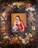 fine arts, Brueghel, Jan the Elder, 1568 - 1625, painting, ´Saint Mary with child´, Prado, Madrid, historic, historical, Europe, Netherlands, 16th / 1...
