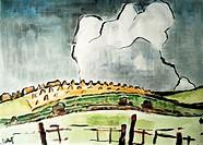fine arts, Schmidt-Rottluff, Karl 1884 - 1976, ´Landschaft mit großer weißer Wolke´, painting, 1945, watercolour, 49,7x69 cm, Kunsthalle Kiel, German,...