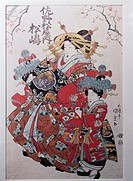 fine arts, Kunisada, Utagawa, 1786 - 1864, graphics, ´courtesan Matsushima from Sano-ya house with two kamuro taking a walk´, circa 1820 / 1823, colou...