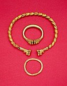 fine arts, ancient world, celts, jewelry, three golden rings, princely grave of a woman, second half 5th century BC, Museum für Vor- und Frühgeschicht...