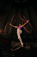 CIRCUS<BR>Students of the Vientiane circus school in Laos putting on a show.