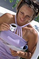 WOMAN WITH HOT DRINK<BR>Model.