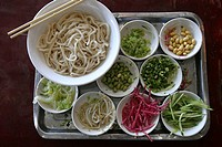 WORLD COOKERY<BR>Salad of soybeans, sprouts and seeds, noodles and raw vegetables in Beijing. Chinese restaurant.