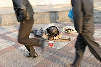 HOMELESS PERSON<BR>Photo essay.<BR>Handicapped beggar in Beijing.