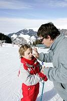 SUNBURN PROTECTION IN WINTER<BR>Models.<BR>Meribel and Courchevel ski resorts in Savoy Alpine valley.
