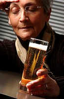 ELDERLY PERSON DRINKING<BR>Model.