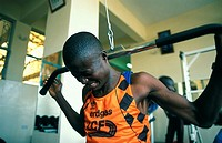 MUSCLE-BUILDING<BR>Photo essay for press only.<BR>Athlete in the Rift Valley, Kenya.