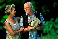ELDERLY COUPLE OUTDOORS<BR>Worldwide distribution except for United Kingdom and Germany.