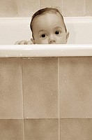 INFANT TAKING A BATH<BR>Model.<BR>8-month-old baby boy.